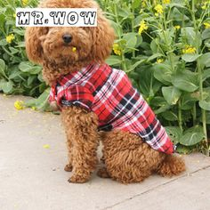 Free shipping  Autumn Spring Clothing For Pet DogsPlaids Grid Checker Shirt Lapel Costume Dog Clothes 3 colors