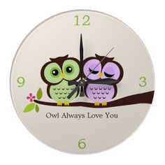 Want it!!   Green and Purple Owl Couple Wall Clock from Zazzle.com