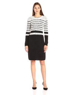 Calvin Klein Women's Eyelash Dress W/ Ribbed Trim