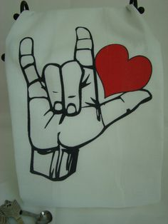 American Sign Language LOVE  Tea towel  flour by SweetBohemianLife, $12.00