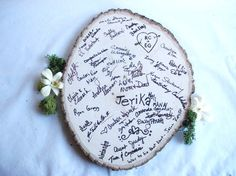 Loving this wedding guest book alternative to match the woodland wedding theme we are enjoying this evening! For some other great alternative wedding guest book ideas check out this blog post: http://www.bespoke-bride.com/2012/04/17/21-alternative-unique-guest-book-ideas/