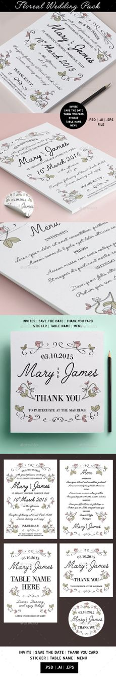 Floral wedding pack #wedding #invites #savethedate #thankyoucard #flowers #vintage #cards