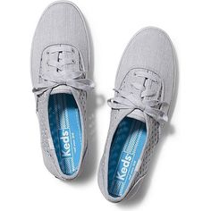 Keds Champion Heather Perf (2,040 INR) ❤ liked on Polyvore featuring shoes, sneakers, grey, keds shoes, grey canvas shoes, perforated shoes, lace up shoes and twisted shoes