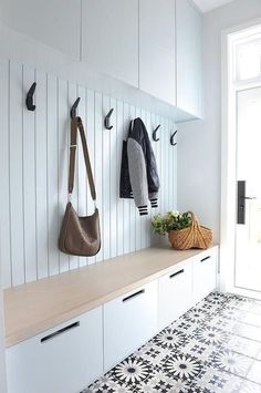 Adding black iron hooks on a white mudroom plank wa&; Adding black iron hooks on. Adding black iron hooks on a white mudroom plank wa&; Adding black iron hooks on a white mudroom pl Hallway Storage, Cupboard Storage, Laundry Storage, Kids Storage, Hidden Storage, Storage Drawers, Closet Storage, Basket Storage, Storage Room