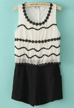 White Sleeveless Lace Back Zipper Jumpsuits
