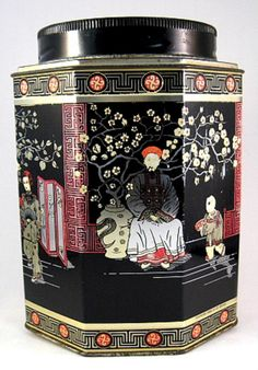 This is a vintage English tea tin, tea canister, tea caddy or biscuit tin made in England by Daher or Baret in the 1930-1940s. The large oriental design tea tin measures 6.5 inches high by 4.5 in diam