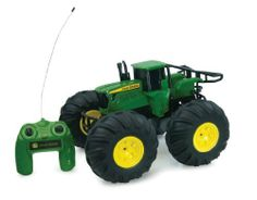 Tomy International John Deere Monster Treads Remote Control Tractor by Tomy International. $104.99. All Terrain Action. Rear stand and spin stunt action. Super Bounce air inflated tires. Aggressive Monster Truck Styling. From the Manufacturer                Grab the controls and encounter the off-road terrani with this John Deere Monster Treads tractor.                                    Product Description                Grab the controls and encounter the off-road ter...