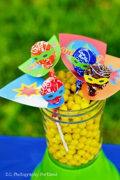 Superhero Lollipops - great party favor!