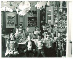 School children with their artwork, The University of Iowa elementary school, 1950s