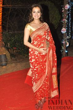 Dia Mirza's red and gold sari - classic!