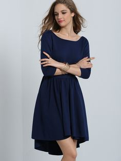 Fabric :Fabric has some stretch Season :Fall Pattern Type :Plain Sleeve Length :Half Sleeve Color :Navy Dresses Length :Short Style :Party Material :Polyester Neckline :Round Neck Silhouette :Flare Bu