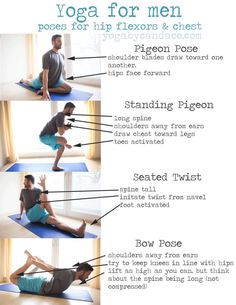 Pin it! Yoga poses for men to help open hips and chest. Click to enlarge. Wearing: Lululemon shorts, Nike shirt. Using: Yoga accessories mat...