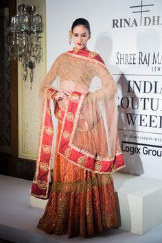 Rina Dhaka at India Couture Week 2014 - red bridal lehnga