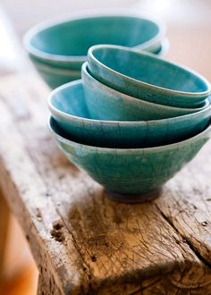 Pretty blue ceramic bowls with a matte glaze for the kitchen