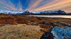Mountain valley sunset.