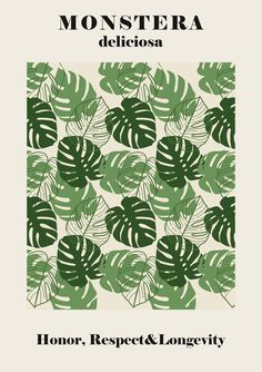 Monstera Illustration Print, perfect to decorate your home or office! We print each poster on premium matte paper for sharp, high-quality images and super vibrant colors. Room Posters, Poster Wall, Poster Prints, Photo Wall Collage, Picture Wall, Art Exhibition Posters, Plakat Design, Green Wall Art, New Wall
