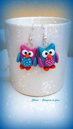 Orecchini in #fimo handmade Gufi kawaii miniature idee regalo amica , by Chiara - Creazioni in fimo, 7,00 € su misshobby.com