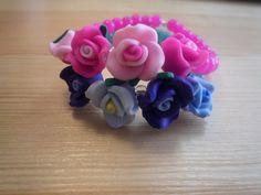 Glass Beaded Flower Stretchy Summer Bracelet by urbaneprincess