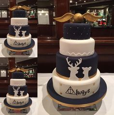 "Wedding Themes These Harry Potter wedding cakes are going to make you want to say ""I do"" - Pastel Harry Potter, Gateau Harry Potter, Harry Potter Wedding Cakes, Harry Potter Fiesta, Cumpleaños Harry Potter, Harry Potter Birthday Cake, Lily Potter, Harry Potter Theme Cake, Anniversaire Harry Potter"
