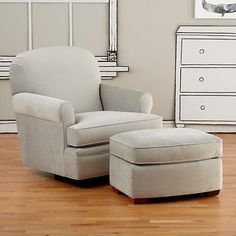 Dylan Swivel Glider & Ottoman (View Grey) in Rockers & Gliders | The Land of Nod