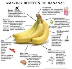 Health Benefits of bananas: Helps with PMS symptoms Regular bowel function Good source of iron & potassium ..and much more