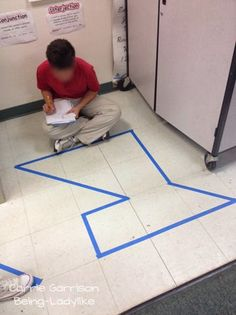 Easy way to teach area and perimeter: use your tile floor in the classroom or hallway to help students practice identifying the area and perimeter of irregular polygons. This teacher tried it with her students for a fully engrossing lesson.
