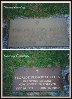 Dawning Genealogy: Tombstone Tuesday ~ Mr. and Mrs. S. Lester and Floride Plowden Kitts