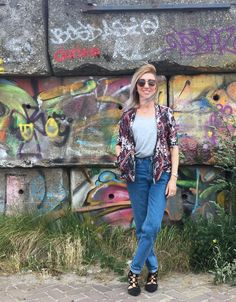 Rock On Holly - My Go To Outfit! Includes Topshop Mom Jeans, a basic Tee or vest and this printed River Island Bomber Jacket. Lace up flats from Primark complete the look!