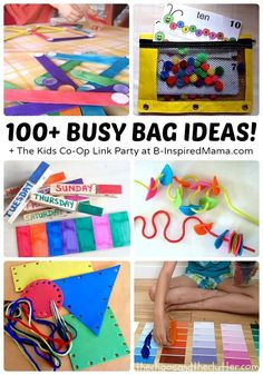 Over 100 Awesome Busy Bags + The Weekly Kids Co-Op Link Party at B-Inspired Mama - Fun Activities for Kids - Toddler Busy Bags, Toddler Play, Toddler Learning, Toddler Preschool, Toddler Activity Bags, Busy Kids, Quiet Time Activities, Infant Activities, Preschool Activities