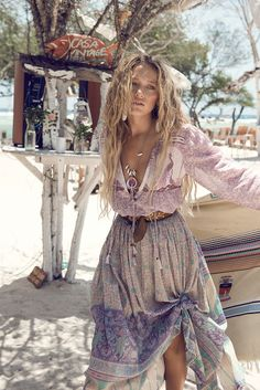 Zippora Seven stars in Spell & The Gypsy Collective's lookbook styled in stunning bohemian inspired outfits, photographed on a beach island getaway.