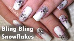 Easy Bling Bling Snowflake Nail Art Tutorial - Winter/Christmas