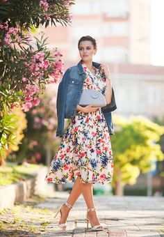 FLORAL DRESS WITH DENIM JACKET