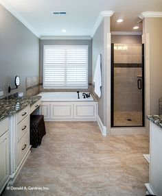 This master bath features a garden tub, walk-in shower and dual vanities. The Spotswood - Plan 1310. http://www.dongardner.com/house-plan/1310/the-spotswood. #MasterBathroom #FloorPlan #Home