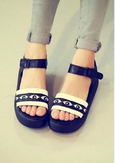Women's leak toe shine eyes sandals platforms