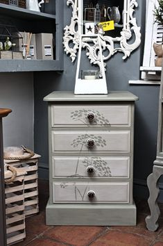 Antiquechic - Page 19 of 70 - recycling and reinventing furniture Bedside Cabinet, Dresser As Nightstand, Dandelion Designs, Paint Furniture, Recycling, House Design, Storage, Table, Painting