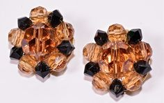 Lisner Crystal Earrings Vintage Amber and Black by Violasvintages, $22.00