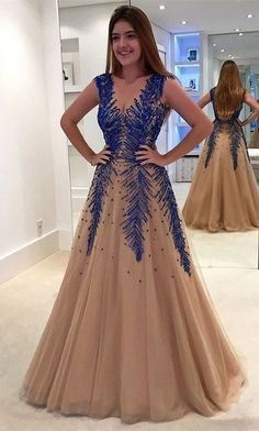 Elegant Prom Dresses, A-Line V-Neck Sweep Train Backless Champagne Tulle Prom Dress with Appliques Beading Shop for La Femme prom dresses. Elegant long designer gowns, sexy cocktail dresses, short semi-formal dresses, and party dresses. Straps Prom Dresses, Elegant Bridesmaid Dresses, V Neck Prom Dresses, A Line Prom Dresses, Tulle Prom Dress, Modest Dresses, Party Dresses, Prom Gowns, Pageant Dresses For Teens