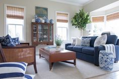 Shades of blue, grey and white, sisal rugs, plants, bamboo, sailboats...something tells me New ...