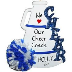 Cheer Blue Personalized Christmas Ornament , Christmas Ornament, Christmas Decoration for Tree, Chri Cheer Coach Gifts, Cheer Coaches, Cheer Gifts, Team Gifts, Cheer Bows, Cheerleading Crafts, Youth Cheerleading, Competitive Cheerleading, Cheerleader Gift