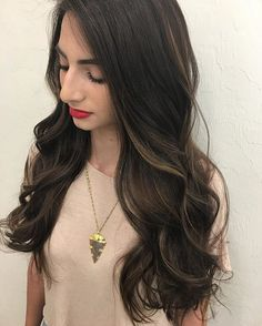 Beautiful Dark Balayage Ombre on this perfect girl with her perfect make up Black Hair Ombre, Brown Hair With Blonde Highlights, Brown To Blonde, Hair Color Dark, Hair Highlights, Ombre Hair, Dark Hair, Ash Brown, Dark Brunette Balayage