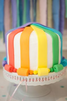 Pretty rainbow cake! - would look cute with bunting on top!