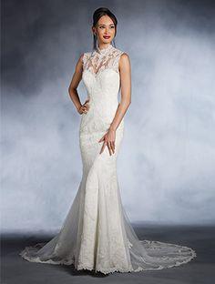A princess wedding dress with mandarin neck yoke over sweetheart neckline, princess line waist, and flared skirt.