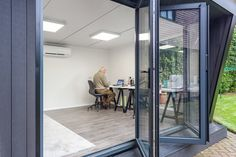 For the perfect office setting, what is better than one of our garden rooms? The team created this stunning garden office to the clients' exact preferences. Garden Office, Workshop, Green, Room, Furniture, Home Decor, Bedroom, Atelier, Decoration Home