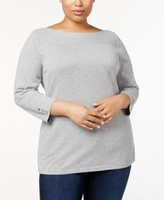 1a48198460aa9 Karen Scott Plus Size Cotton Boat-Neck Sweater