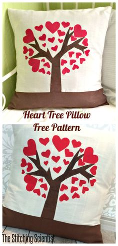 Heart Tree Pillow with Free Pattern {The Stitching Scientist} #DIY #craft #LorAnnValentine