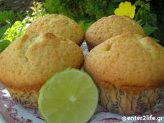 Muffins με Lime  www.enter2life.gr Healthy Mind, Healthy Eating, Greek Cooking, Mother Nature, Muffins, Brunch, Lime, Breakfast, Recipes