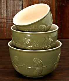 Pinecone Ceramic Bowl - Set of 3 & Cabin Dinnerware | Rustic Dinnerware - Western Dinnerware - Pottery ...