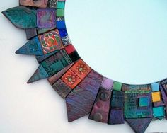 polymer mosaic hanging mirror by The Artful Eye