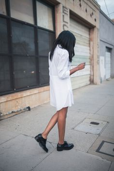 #beauty #style #fashion #woman #clothes #outfit #wearable #casual #look #spring #summer #white #shirt #dress #black #leather #bluchers