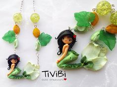 Sweet mermaid green charm polymer clay necklace by Tivibi